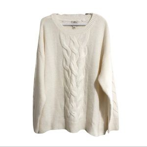 St. John's Bay, cream, cable knit sweater. 2X